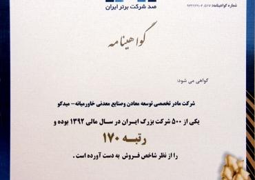 جوایز رتبه بندی شرکتهای برتر ایران (IMI 100)